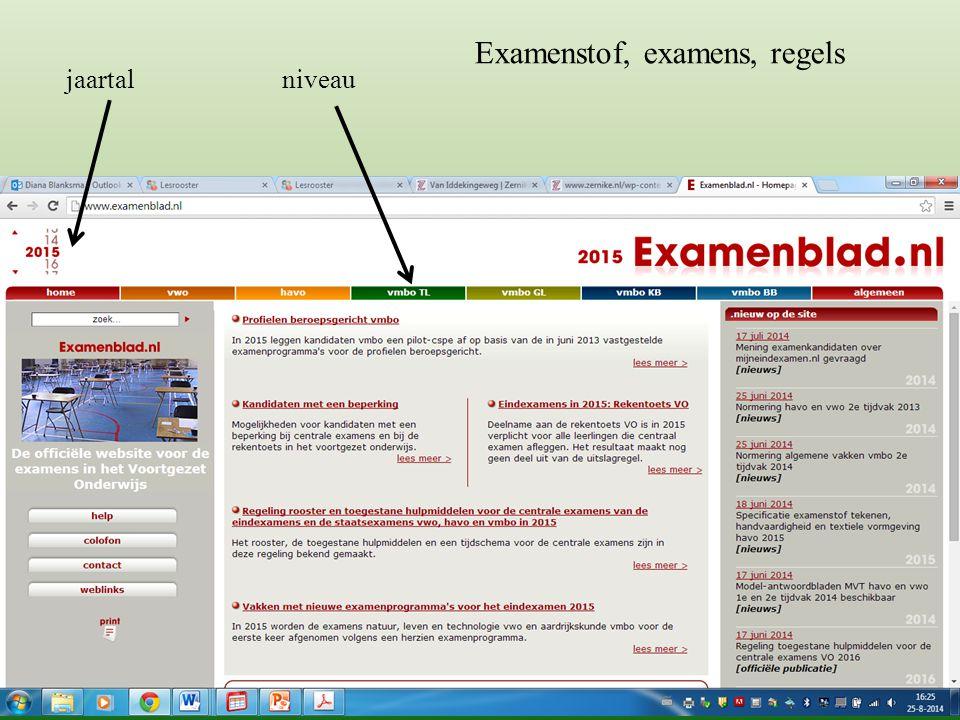 Examenstof, examens, regels