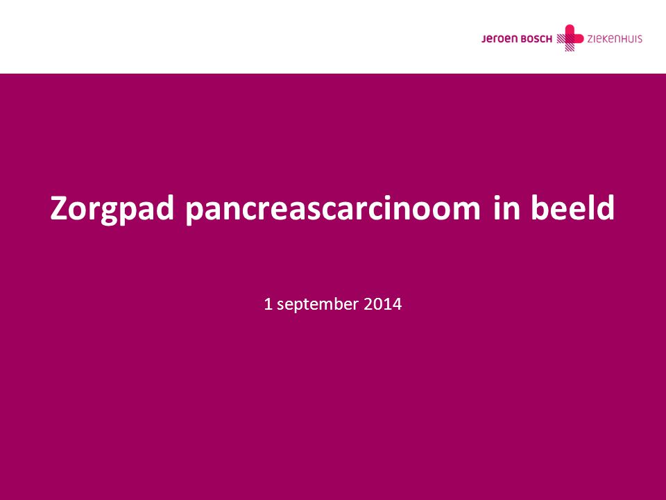 Zorgpad pancreascarcinoom in beeld