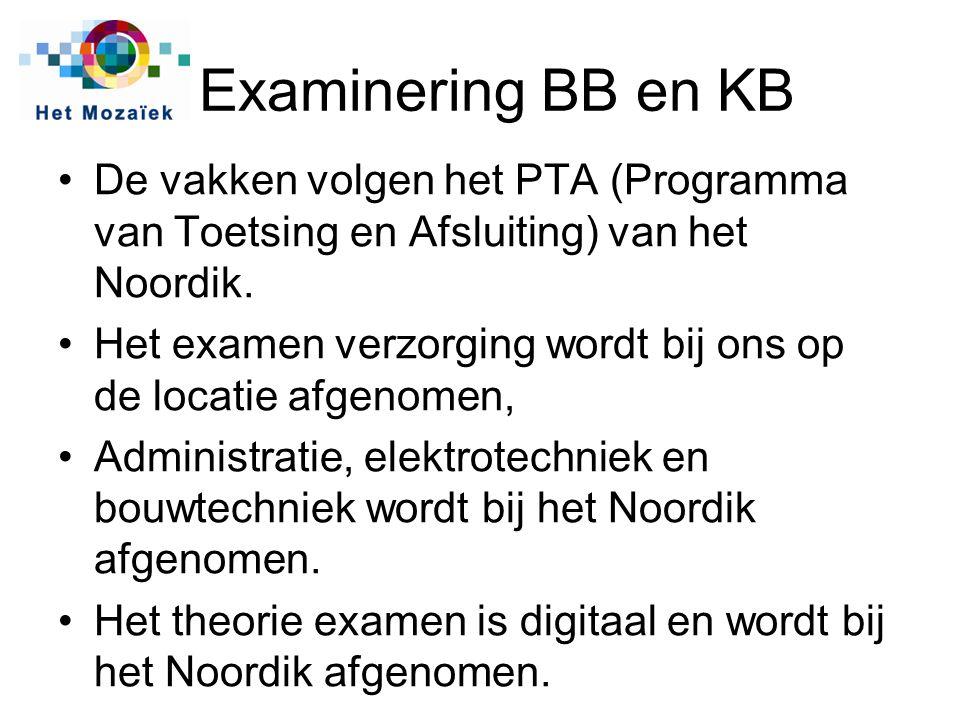 Examinering BB en KB De vakken volgen het PTA (Programma van Toetsing en Afsluiting) van het Noordik.