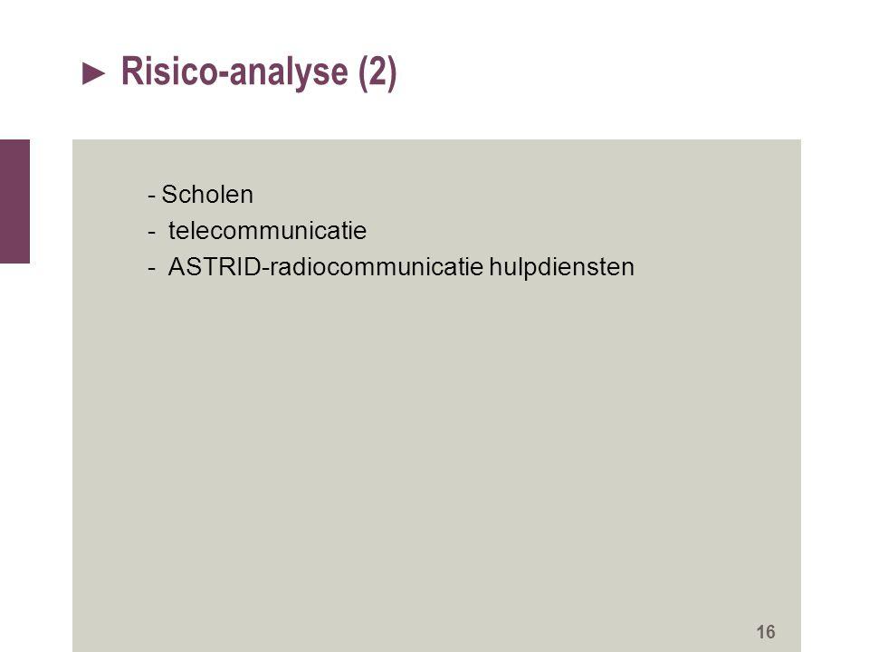 Risico-analyse (2) Scholen telecommunicatie