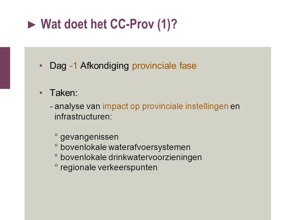 Wat doet het CC-Prov (1) Dag -1 Afkondiging provinciale fase Taken: