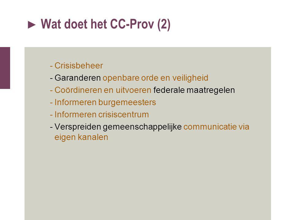 Wat doet het CC-Prov (2) Crisisbeheer