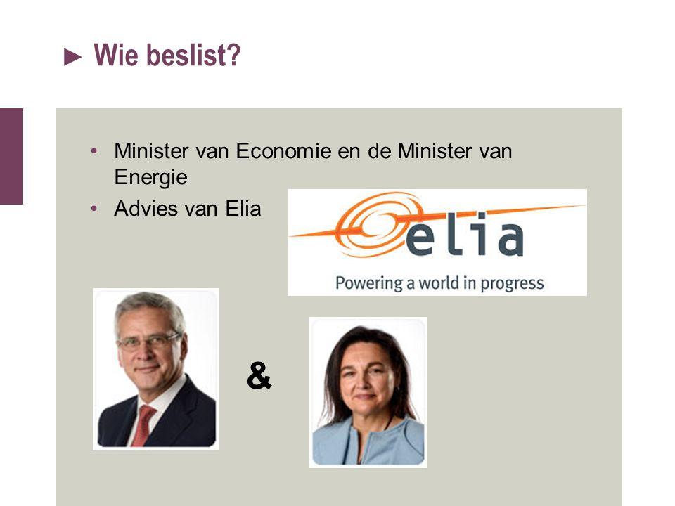 & Wie beslist Minister van Economie en de Minister van Energie