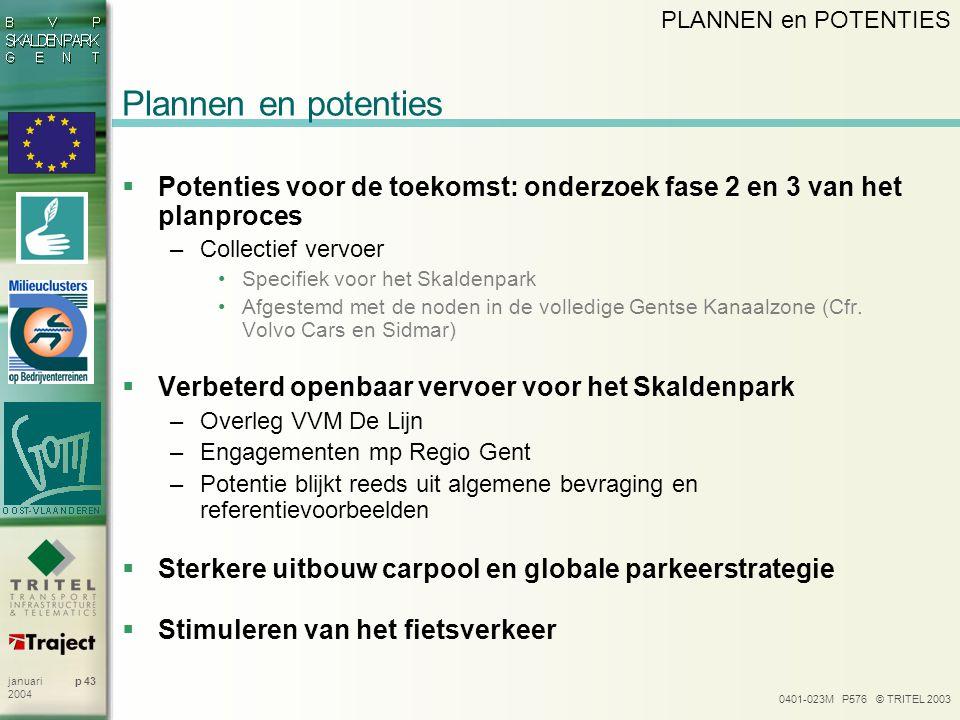 PLANNEN en POTENTIES Plannen en potenties. Potenties voor de toekomst: onderzoek fase 2 en 3 van het planproces.