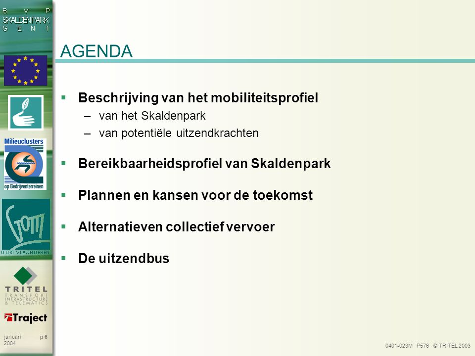 AGENDA Beschrijving van het mobiliteitsprofiel