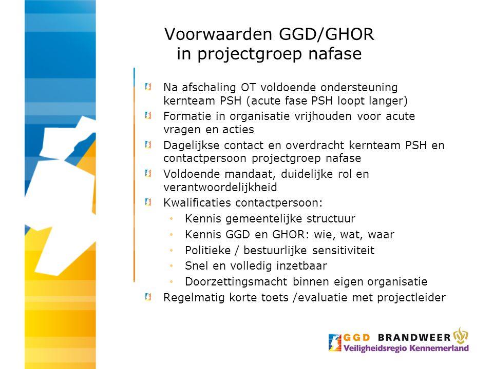 Voorwaarden GGD/GHOR in projectgroep nafase