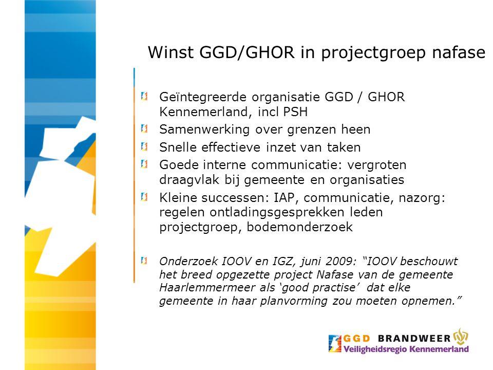 Winst GGD/GHOR in projectgroep nafase