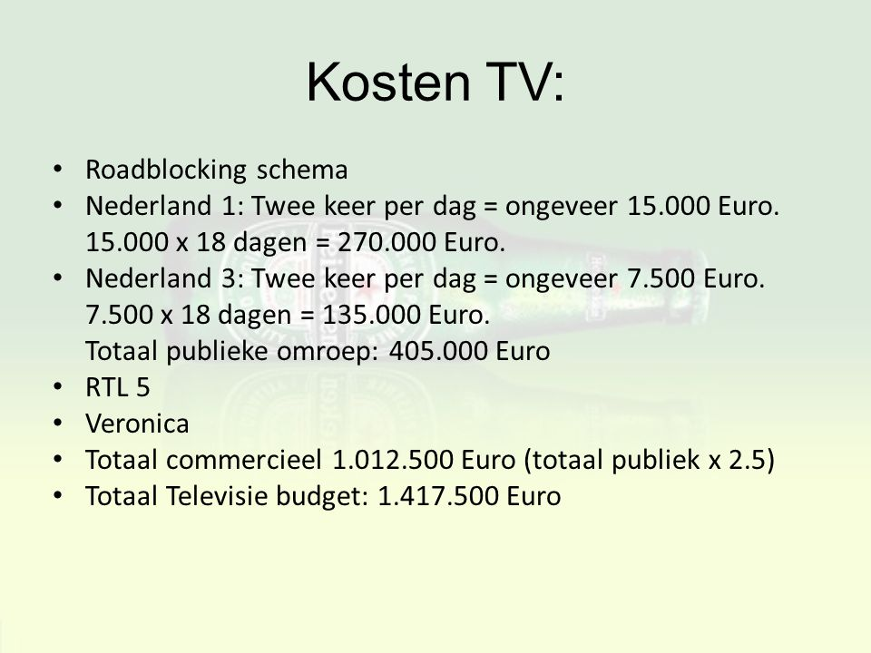 Kosten TV: Roadblocking schema