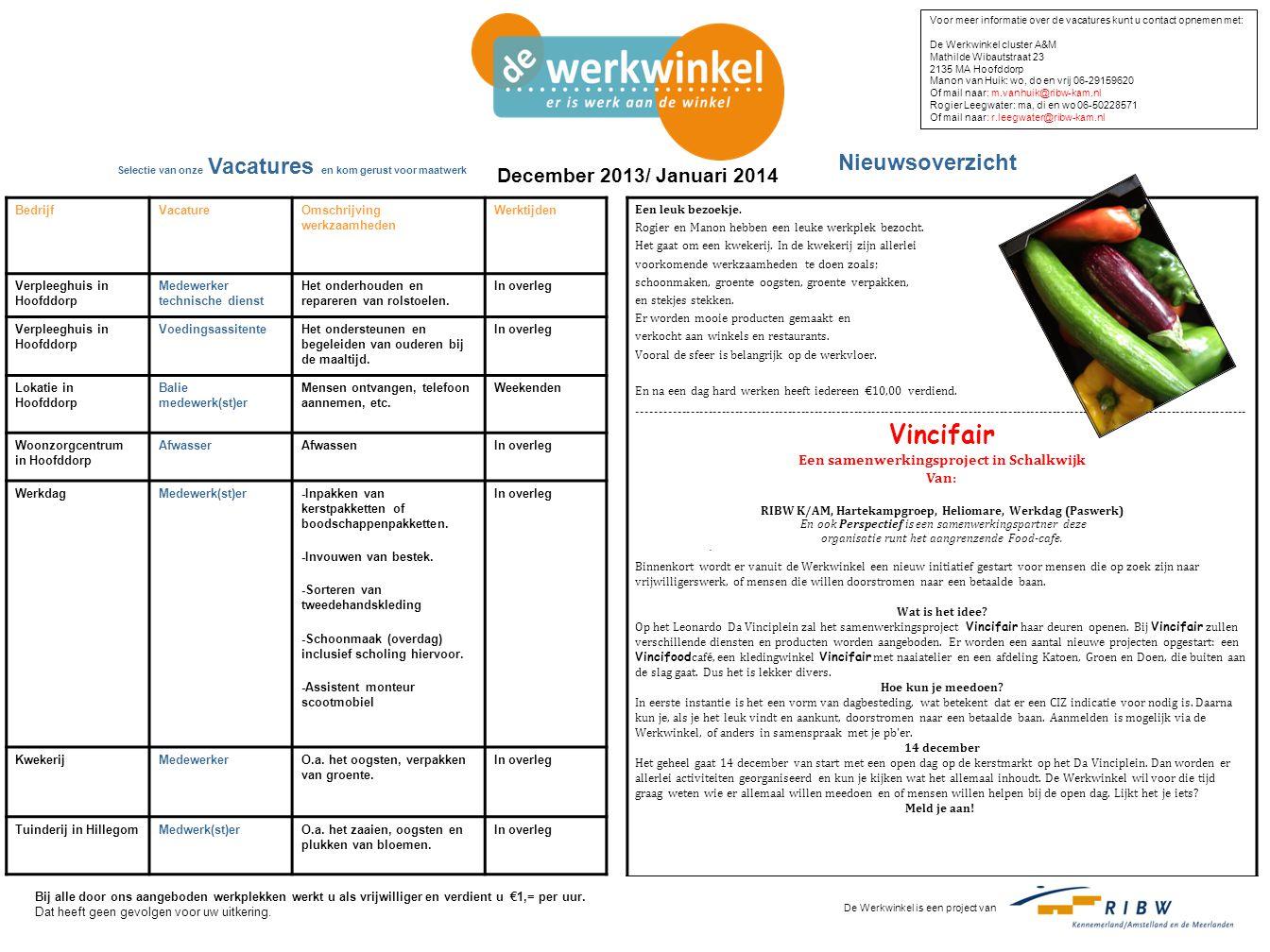 Vincifair Nieuwsoverzicht December 2013/ Januari 2014