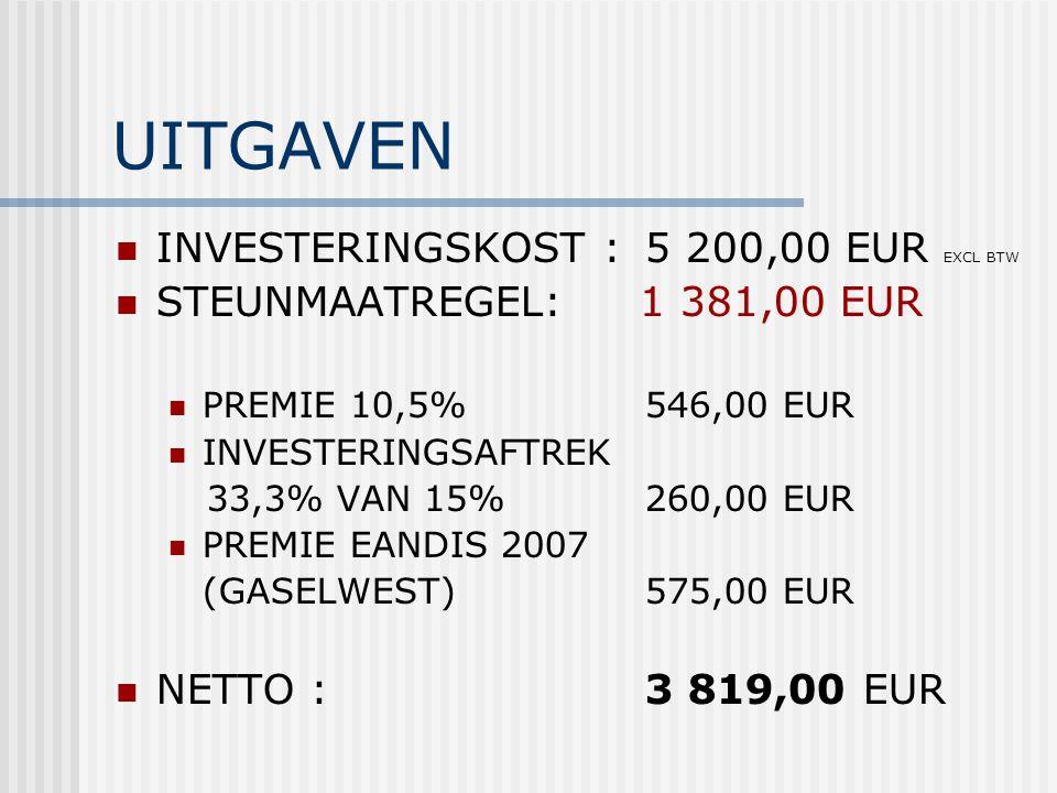 UITGAVEN INVESTERINGSKOST : 5 200,00 EUR EXCL BTW