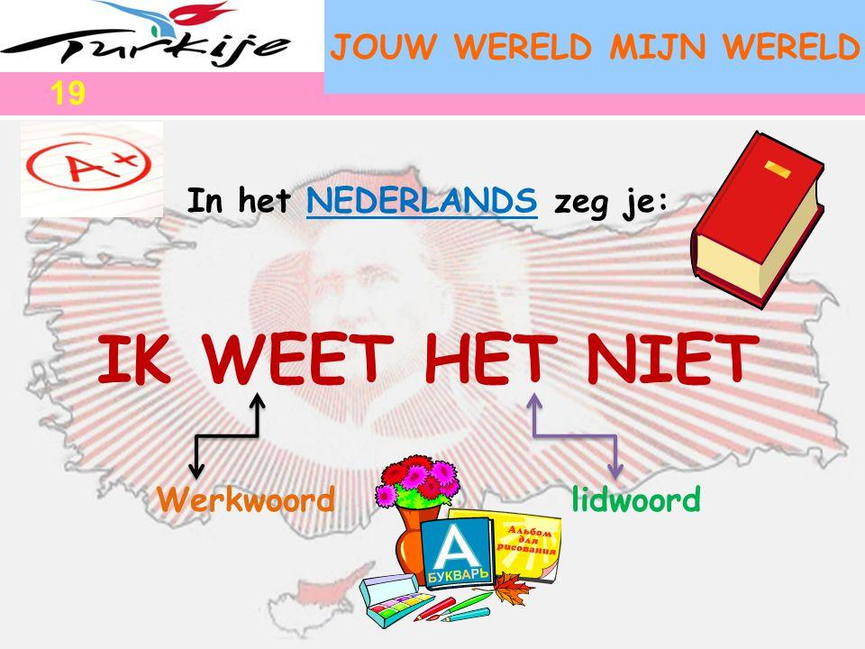JOUW WERELD MIJN WERELD In het NEDERLANDS zeg je: