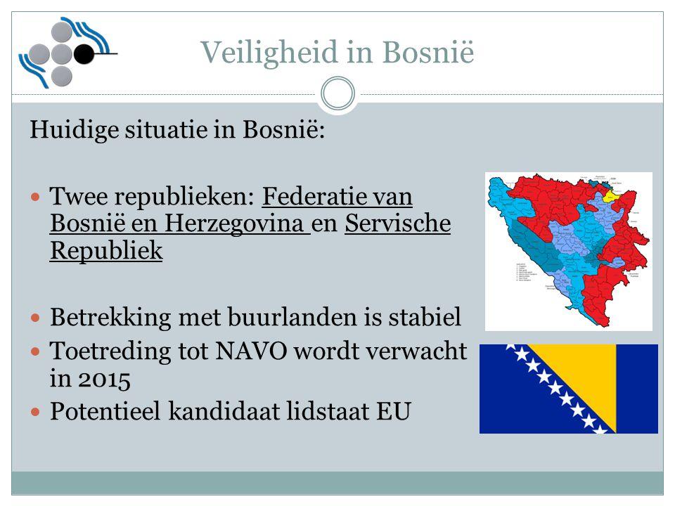 Veiligheid in Bosnië Huidige situatie in Bosnië:
