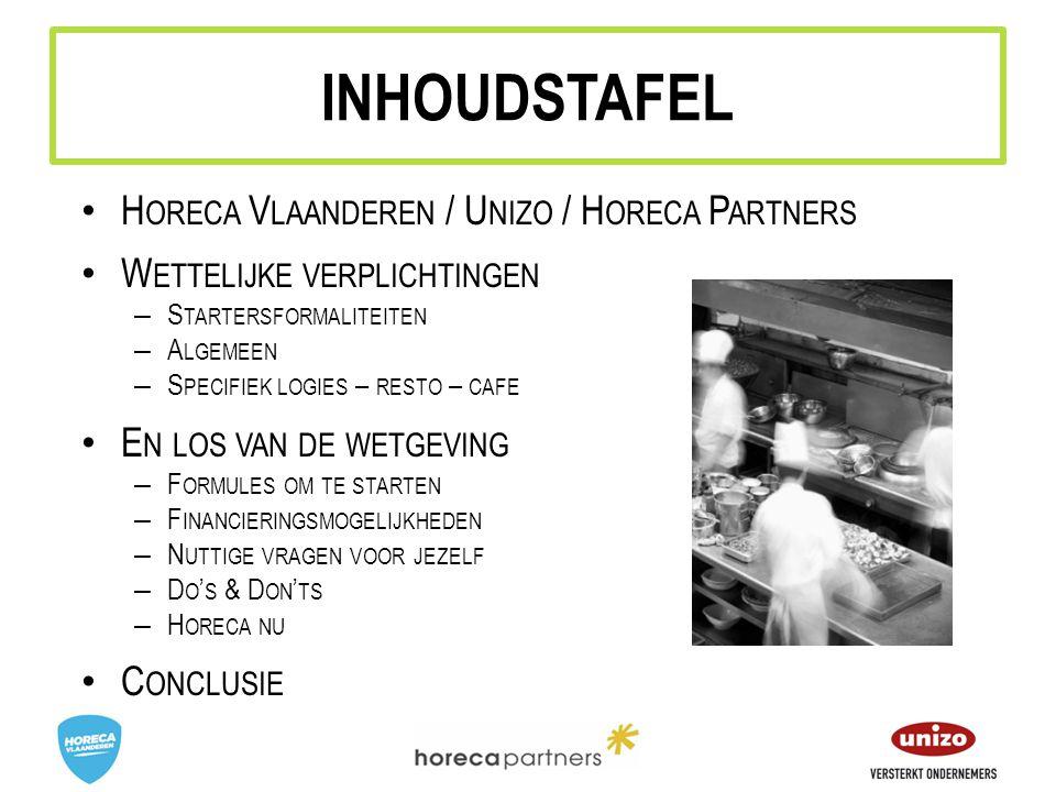INHOUDSTAFEL Horeca Vlaanderen / Unizo / Horeca Partners