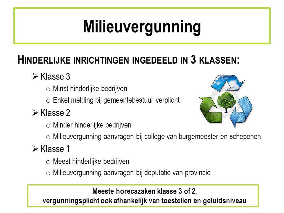 Milieuvergunning Hinderlijke inrichtingen ingedeeld in 3 klassen: