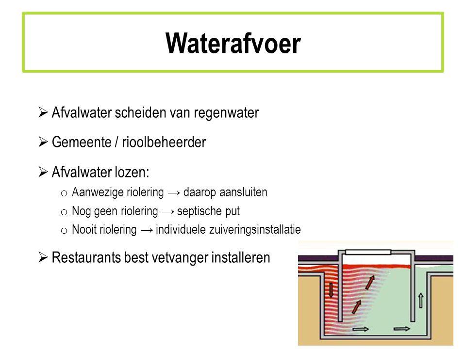 Waterafvoer Afvalwater scheiden van regenwater