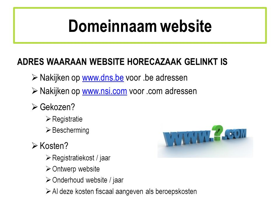 Domeinnaam website adres waaraan website horecazaak gelinkt is