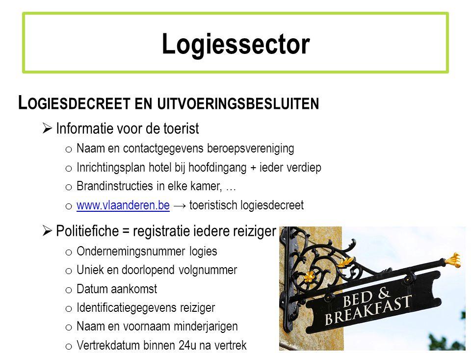 Logiessector Logiesdecreet en uitvoeringsbesluiten