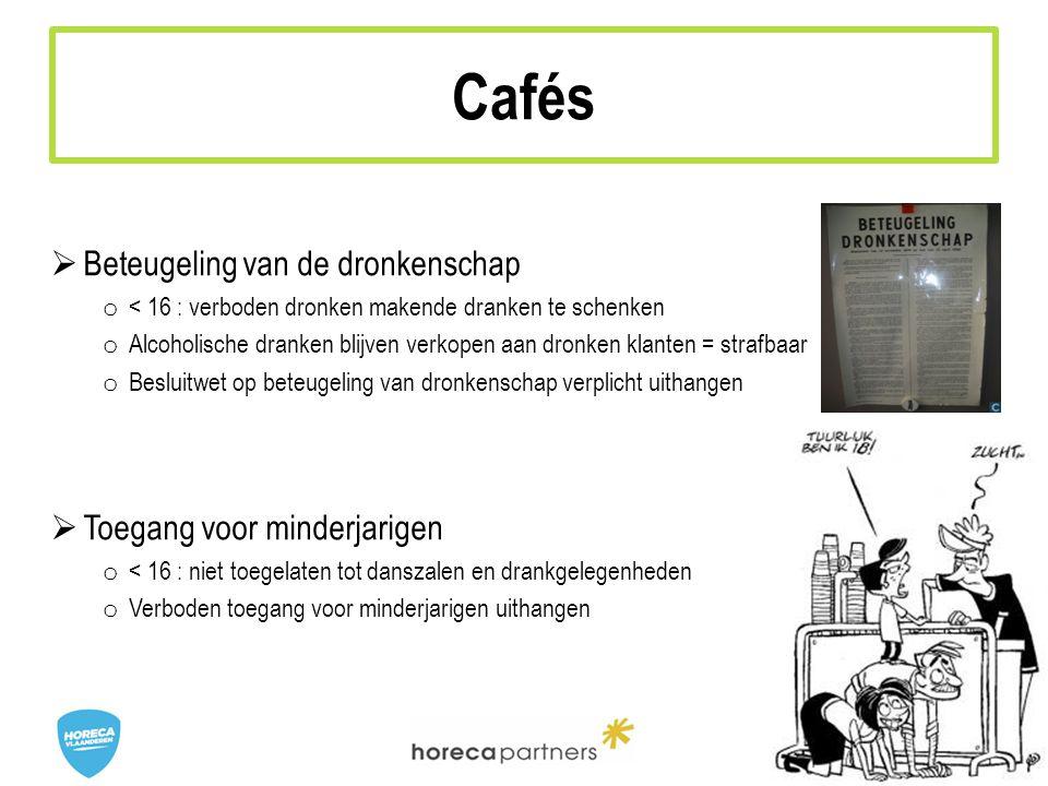 Cafés Beteugeling van de dronkenschap Toegang voor minderjarigen