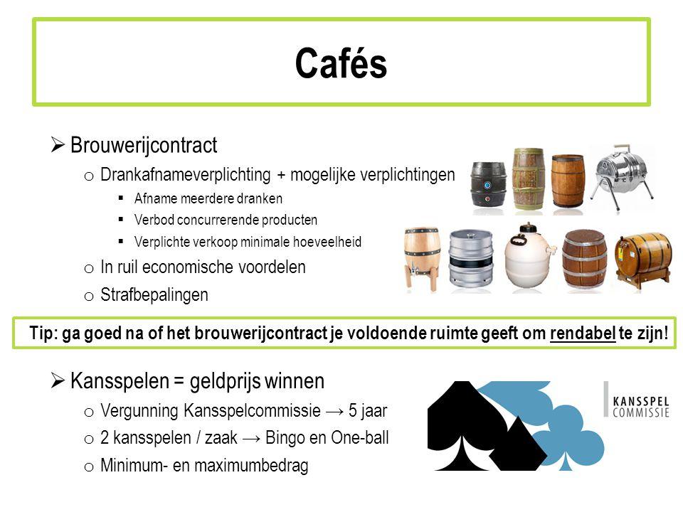 Cafés Brouwerijcontract Kansspelen = geldprijs winnen