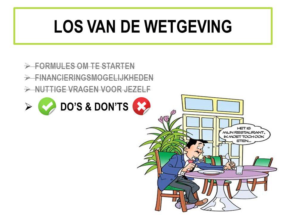 LOS VAN DE WETGEVING DO'S & DON'TS FORMULES OM TE STARTEN