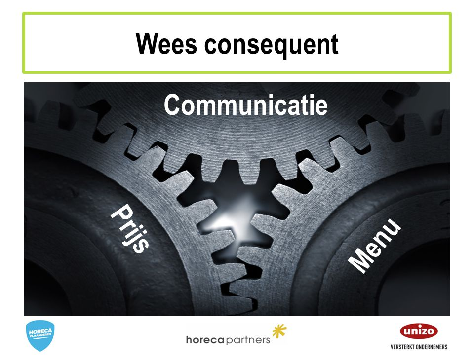 Wees consequent Communicatie Prijs Menu