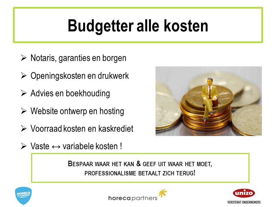 Budgetter alle kosten Notaris, garanties en borgen