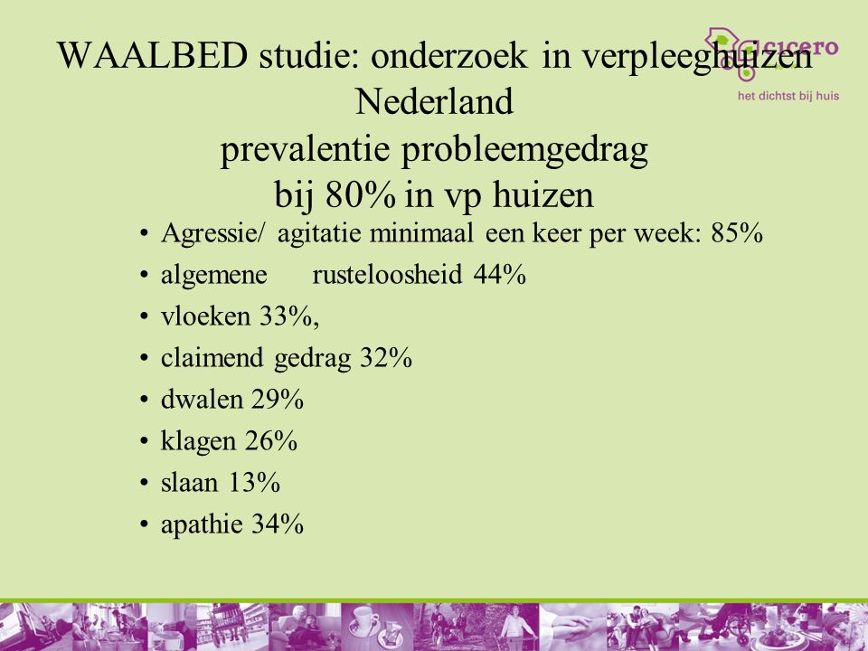 WAALBED studie: onderzoek in verpleeghuizen Nederland prevalentie probleemgedrag bij 80% in vp huizen