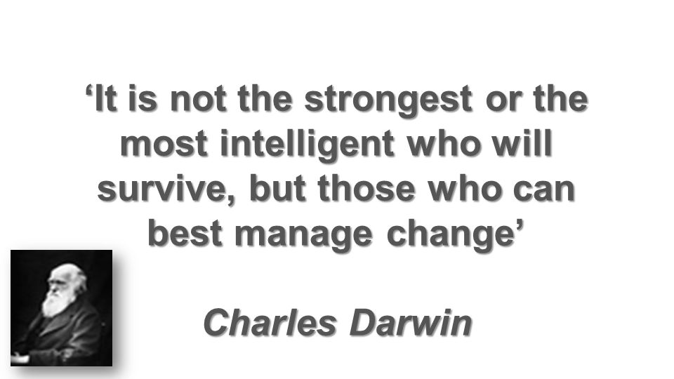 'It is not the strongest or the most intelligent who will survive, but those who can best manage change'
