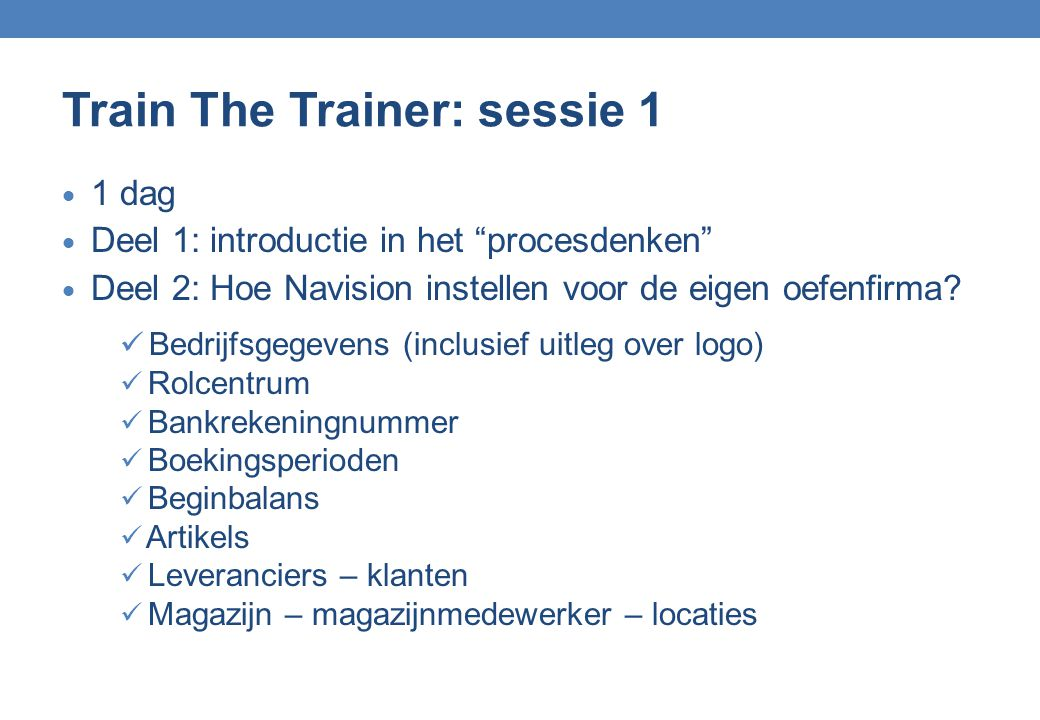 Train The Trainer: sessie 1