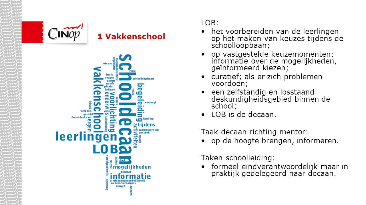 1 Vakkenschool LOB: het voorbereiden van de leerlingen op het maken van keuzes tijdens de schoolloopbaan;
