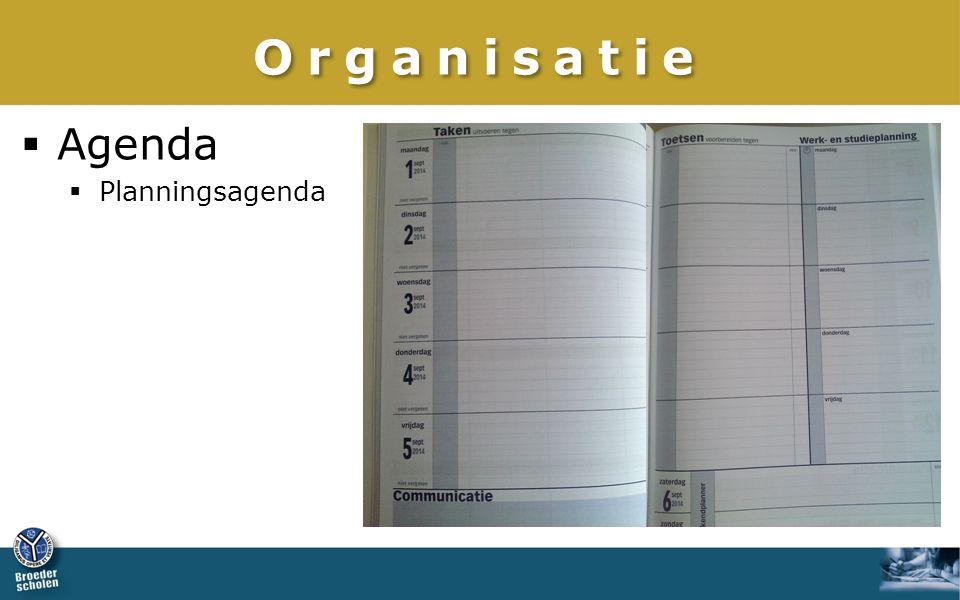 Organisatie Agenda Planningsagenda