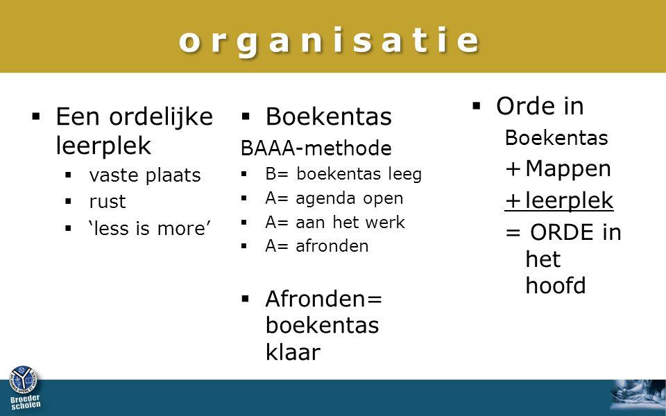 organisatie Orde in Een ordelijke leerplek Boekentas + Mappen