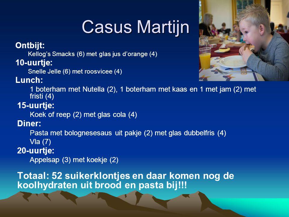 Casus Martijn Ontbijt: Kellog's Smacks (6) met glas jus d'orange (4) 10-uurtje: Snelle Jelle (6) met roosvicee (4)
