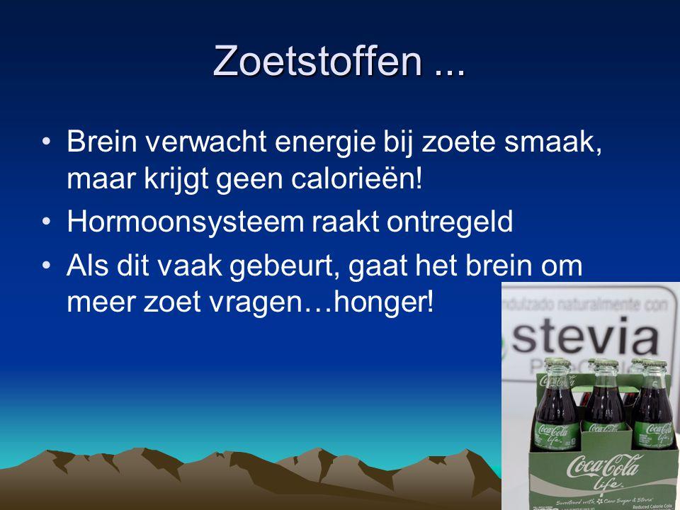 Zoetstoffen ... Brein verwacht energie bij zoete smaak, maar krijgt geen calorieën! Hormoonsysteem raakt ontregeld.