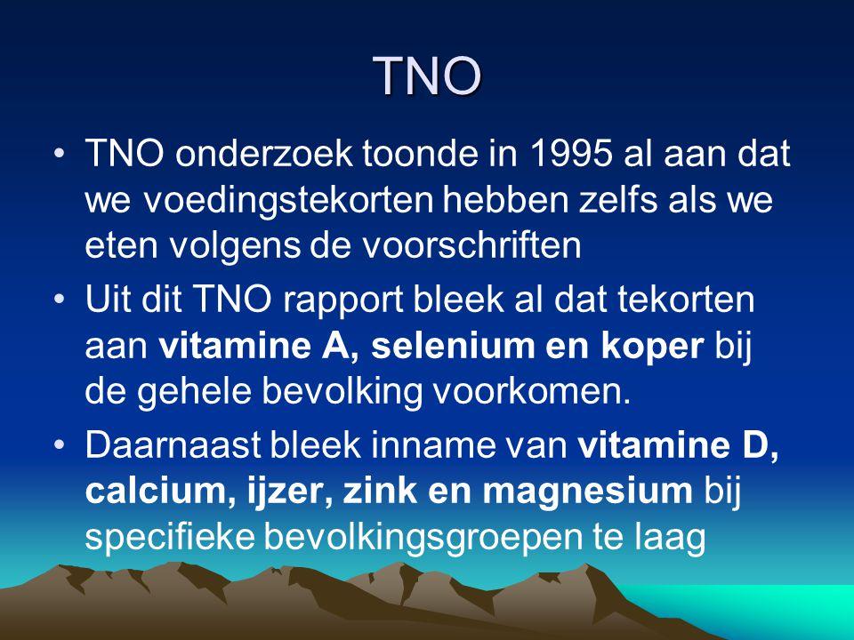 TNO TNO onderzoek toonde in 1995 al aan dat we voedingstekorten hebben zelfs als we eten volgens de voorschriften.
