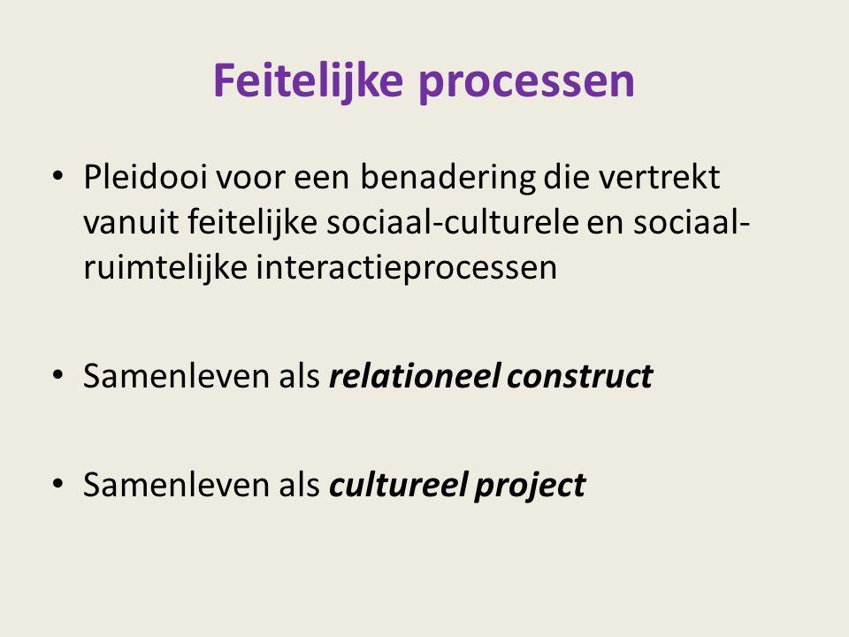 Feitelijke processen Pleidooi voor een benadering die vertrekt vanuit feitelijke sociaal-culturele en sociaal-ruimtelijke interactieprocessen.