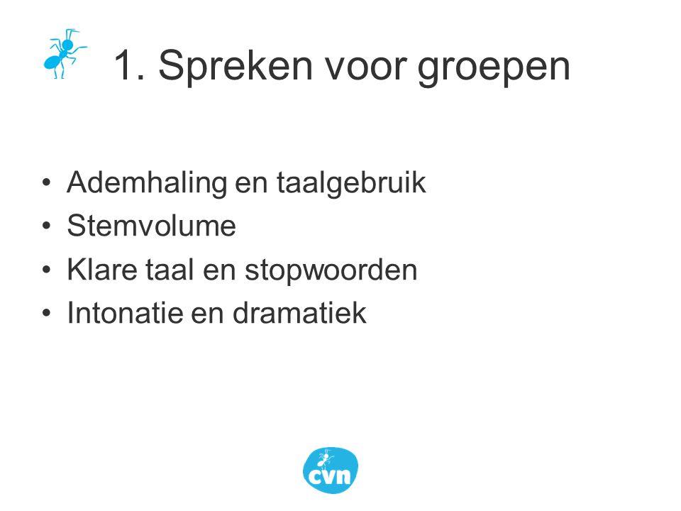 1. Spreken voor groepen Ademhaling en taalgebruik Stemvolume