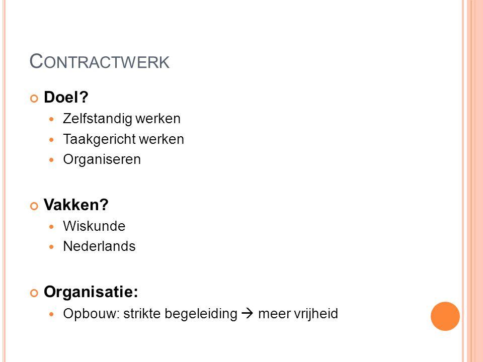 Contractwerk Doel Vakken Organisatie: Zelfstandig werken