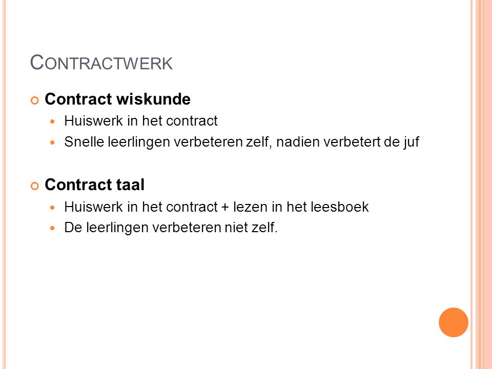Contractwerk Contract wiskunde Contract taal Huiswerk in het contract