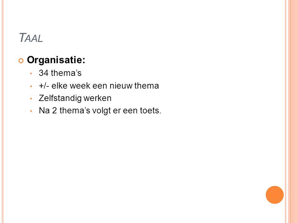 Taal Organisatie: 34 thema's +/- elke week een nieuw thema