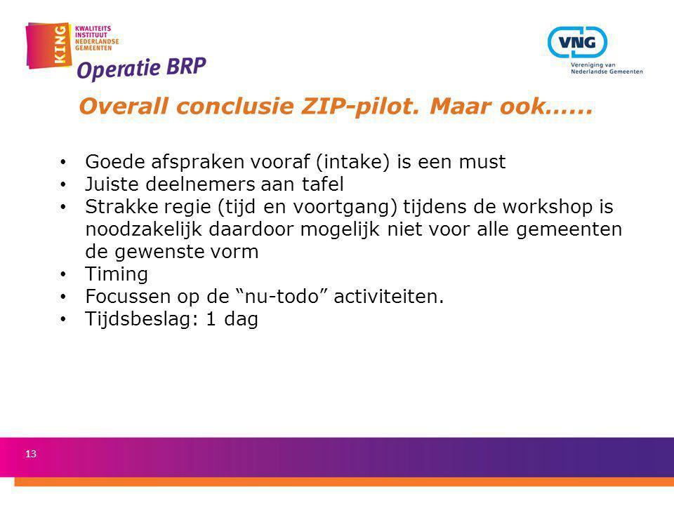 Overall conclusie ZIP-pilot. Maar ook…...
