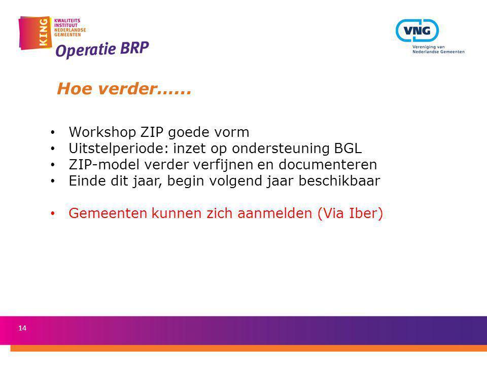 Hoe verder…... Workshop ZIP goede vorm