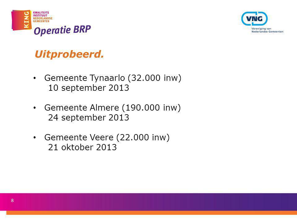 Uitprobeerd. Gemeente Tynaarlo (32.000 inw) 10 september 2013