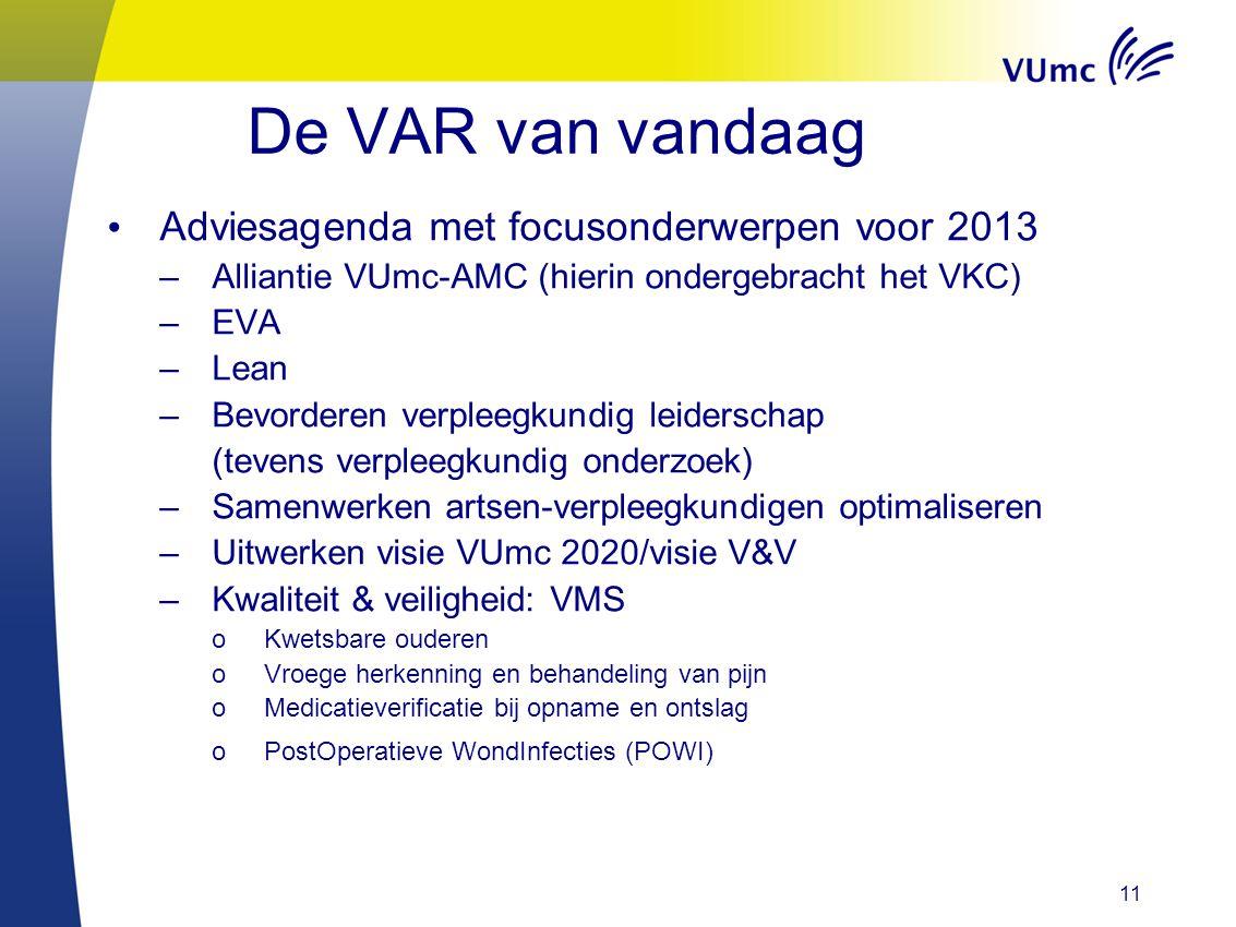 De VAR van vandaag Adviesagenda met focusonderwerpen voor 2013
