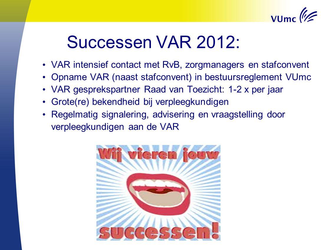 Successen VAR 2012: VAR intensief contact met RvB, zorgmanagers en stafconvent. Opname VAR (naast stafconvent) in bestuursreglement VUmc.