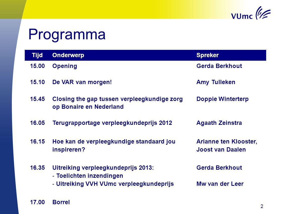 Programma Tijd Onderwerp Spreker 15.00 Opening Gerda Berkhout 15.10