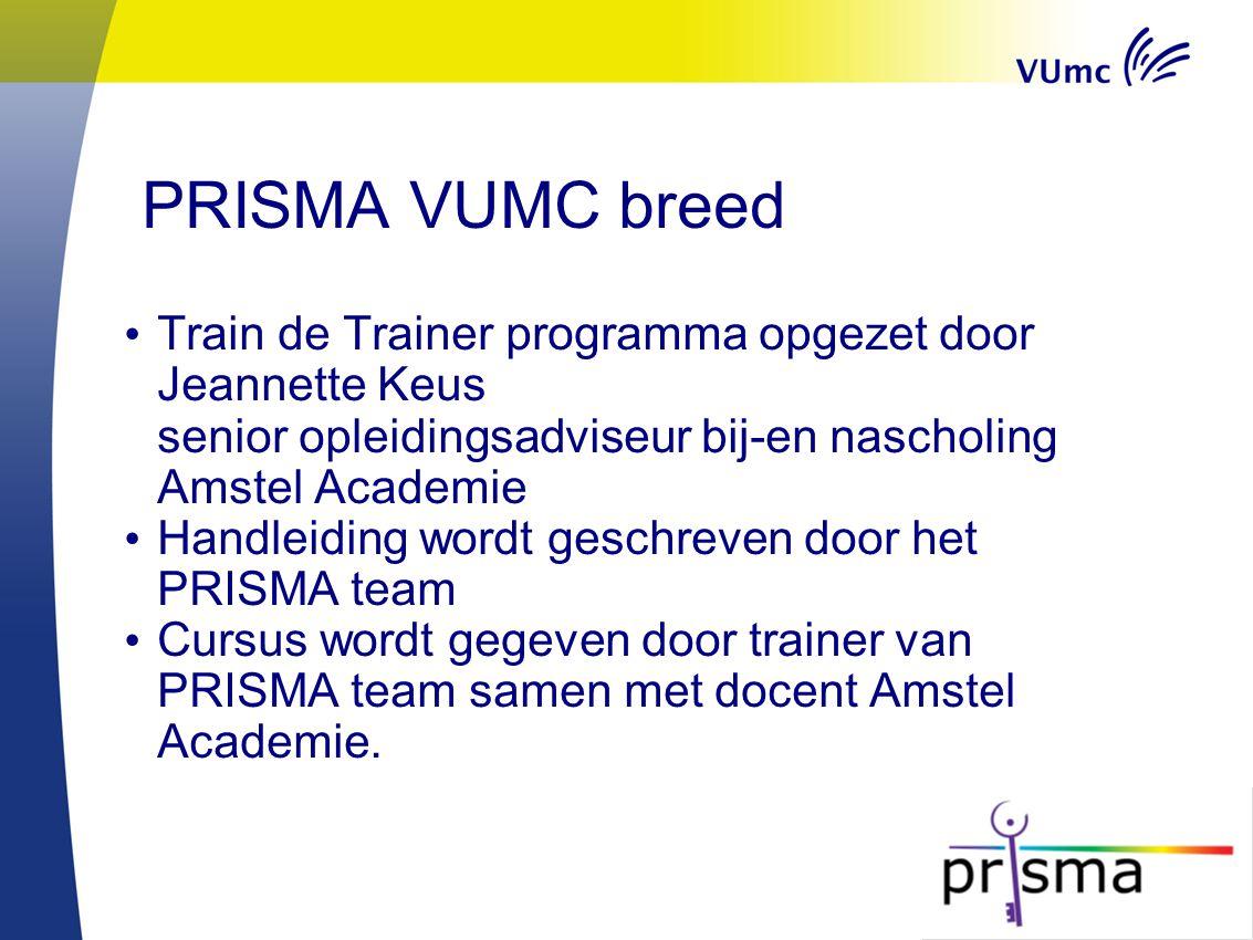 PRISMA VUMC breed Train de Trainer programma opgezet door Jeannette Keus senior opleidingsadviseur bij-en nascholing Amstel Academie.