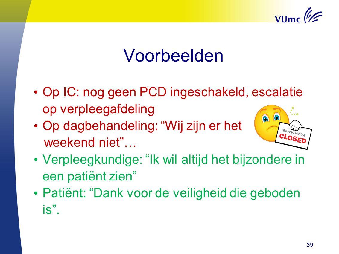 Voorbeelden Op IC: nog geen PCD ingeschakeld, escalatie op verpleegafdeling. Op dagbehandeling: Wij zijn er het.