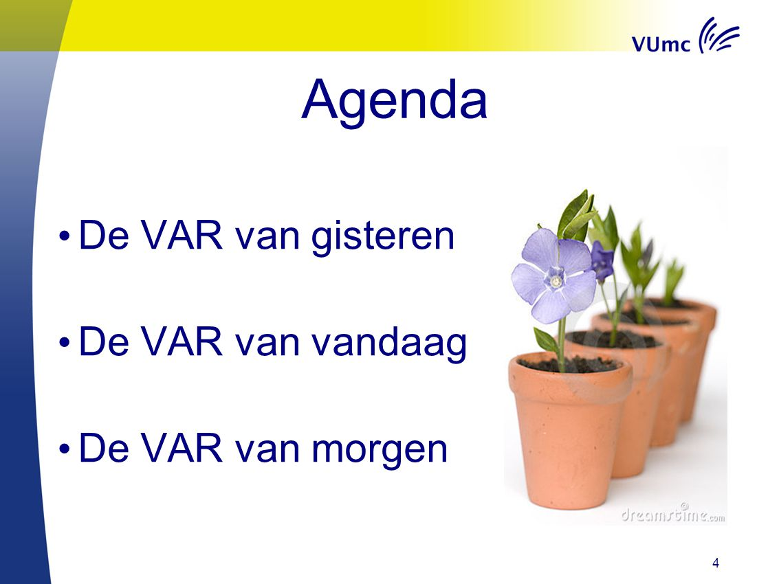 Agenda De VAR van gisteren De VAR van vandaag De VAR van morgen