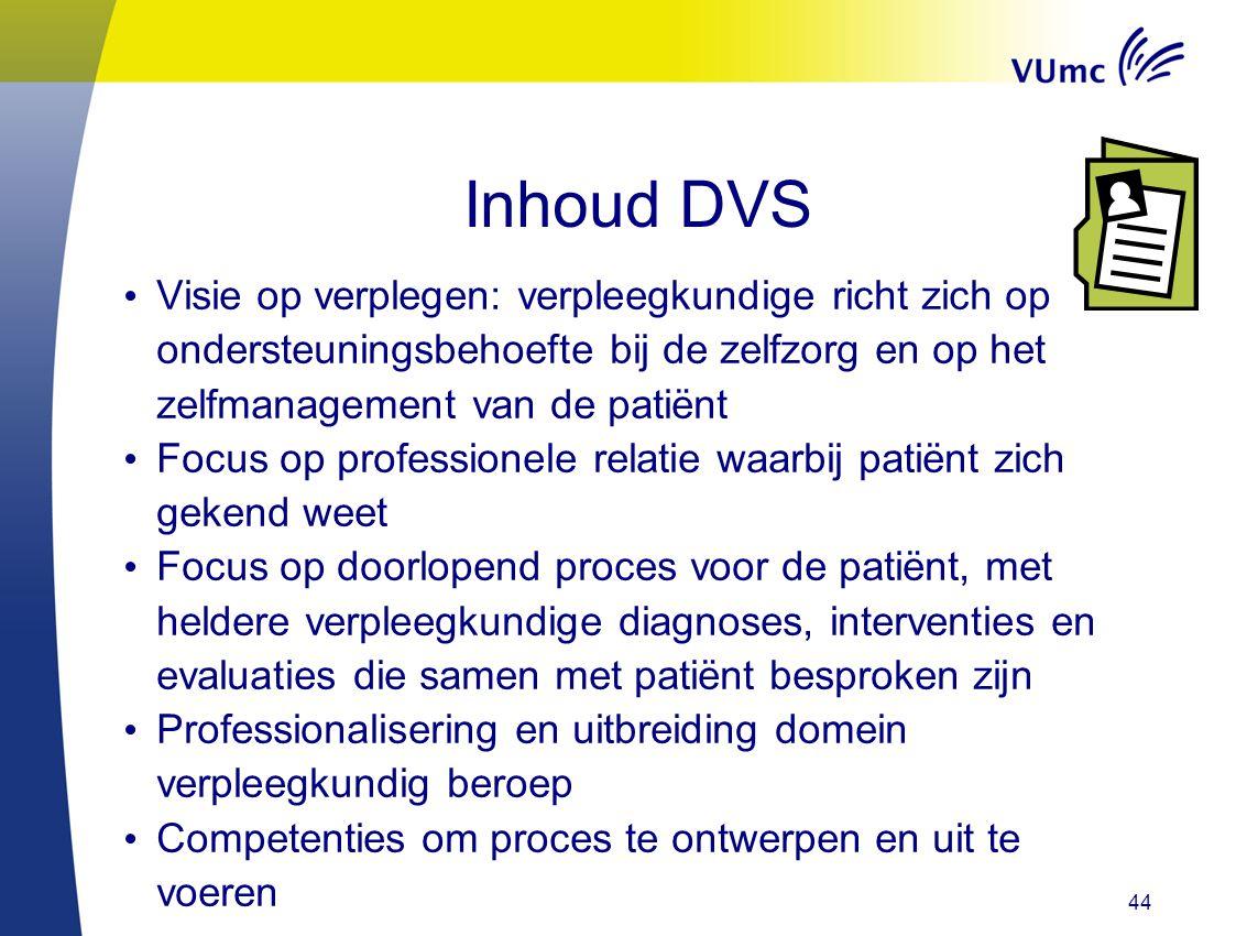 Inhoud DVS Visie op verplegen: verpleegkundige richt zich op ondersteuningsbehoefte bij de zelfzorg en op het zelfmanagement van de patiënt.